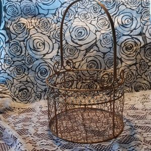 Gold beaded wire basket